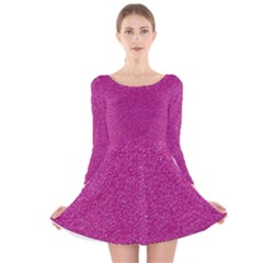 Metallic Pink Glitter Texture Long Sleeve Velvet Skater Dress by yoursparklingshop