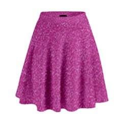 Metallic Pink Glitter Texture High Waist Skirt by yoursparklingshop