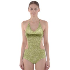 Festive White Gold Glitter Texture Cut Out One Piece Swimsuit by yoursparklingshop