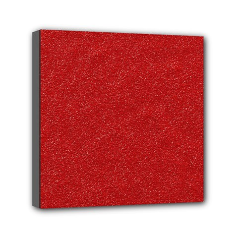 Festive Red Glitter Texture Mini Canvas 6  X 6  by yoursparklingshop