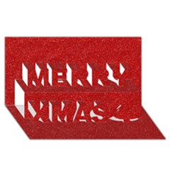 Festive Red Glitter Texture Merry Xmas 3d Greeting Card (8x4)  by yoursparklingshop