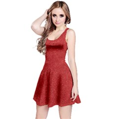 Festive Red Glitter Texture Reversible Sleeveless Dress by yoursparklingshop