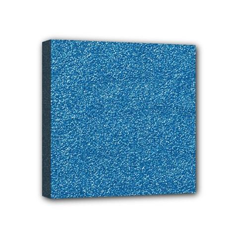 Festive Blue Glitter Texture Mini Canvas 4  X 4  by yoursparklingshop