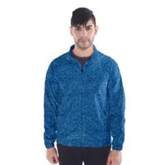 Festive Blue Glitter Texture Wind Breaker (men) by yoursparklingshop