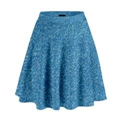 Festive Blue Glitter Texture High Waist Skirt by yoursparklingshop