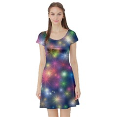 Starlight Shiny Glitter Stars Short Sleeve Skater Dress by yoursparklingshop