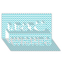 Blue White Chevron Best Wish 3d Greeting Card (8x4)  by yoursparklingshop