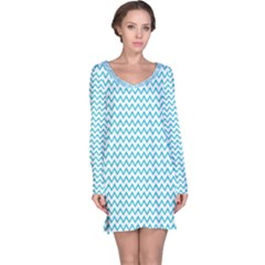 Blue White Chevron Long Sleeve Nightdress by yoursparklingshop