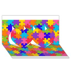 Funny Colorful Puzzle Pieces Twin Hearts 3d Greeting Card (8x4)  by yoursparklingshop