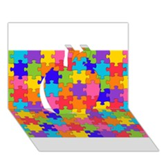 Funny Colorful Puzzle Pieces Apple 3d Greeting Card (7x5)  by yoursparklingshop