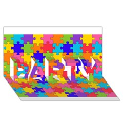 Funny Colorful Puzzle Pieces PARTY 3D Greeting Card (8x4)  by yoursparklingshop
