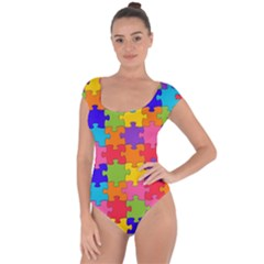 Funny Colorful Puzzle Pieces Short Sleeve Leotard (ladies) by yoursparklingshop