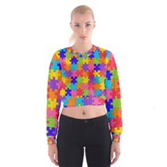 Funny Colorful Puzzle Pieces Women s Cropped Sweatshirt