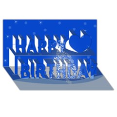 Blue White Christmas Tree Happy Birthday 3d Greeting Card (8x4)  by yoursparklingshop