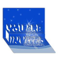 Blue White Christmas Tree You Are Invited 3d Greeting Card (7x5)  by yoursparklingshop