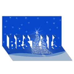 Blue White Christmas Tree Best Sis 3d Greeting Card (8x4)  by yoursparklingshop