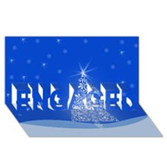 Blue White Christmas Tree Engaged 3d Greeting Card (8x4)  by yoursparklingshop