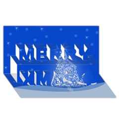 Blue White Christmas Tree Merry Xmas 3d Greeting Card (8x4)  by yoursparklingshop