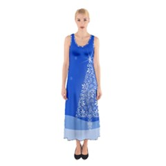Blue White Christmas Tree Full Print Maxi Dress by yoursparklingshop