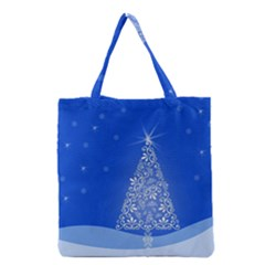 Blue White Christmas Tree Grocery Tote Bag by yoursparklingshop