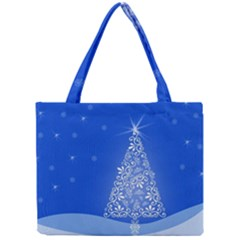 Blue White Christmas Tree Mini Tote Bag by yoursparklingshop