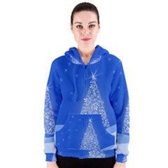 Blue White Christmas Tree Women s Zipper Hoodie by yoursparklingshop