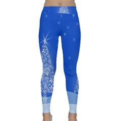 Blue White Christmas Tree Yoga Leggings by yoursparklingshop