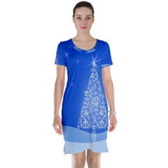 Blue White Christmas Tree Short Sleeve Nightdress by yoursparklingshop