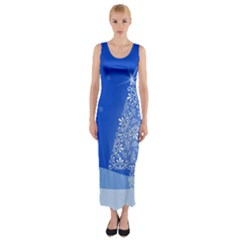 Blue White Christmas Tree Fitted Maxi Dress by yoursparklingshop