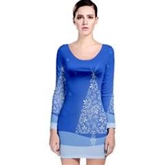 Blue White Christmas Tree Long Sleeve Velvet Bodycon Dress by yoursparklingshop
