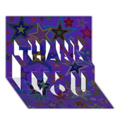 Purple Christmas Party Stars Thank You 3d Greeting Card (7x5)  by yoursparklingshop