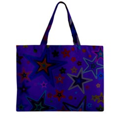 Purple Christmas Party Stars Zipper Mini Tote Bag by yoursparklingshop