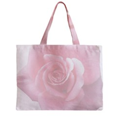 Pink White Love Rose Zipper Mini Tote Bag by yoursparklingshop