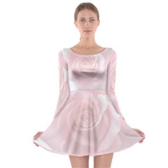 Pink White Love Rose Long Sleeve Skater Dress by yoursparklingshop