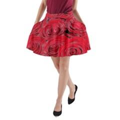 Red Love Roses A Line Pocket Skirt by yoursparklingshop