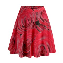 Red Love Roses High Waist Skirt by yoursparklingshop
