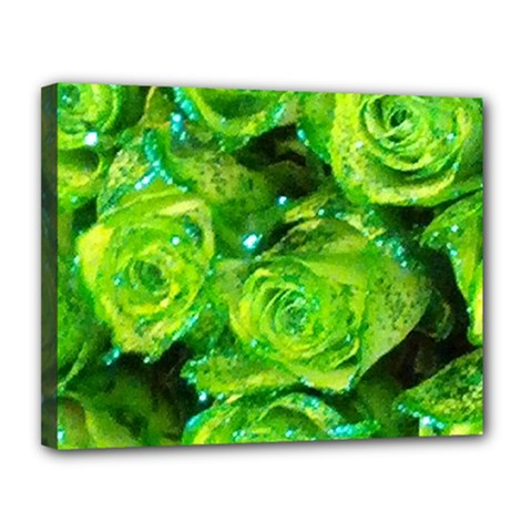 Festive Green Glitter Roses Valentine Love  Canvas 14  X 11  by yoursparklingshop