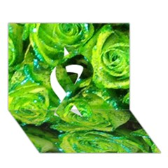 Festive Green Glitter Roses Valentine Love  Ribbon 3d Greeting Card (7x5)  by yoursparklingshop