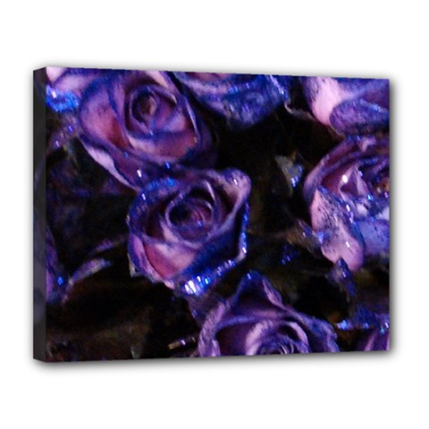 Purple Glitter Roses Valentine Love Canvas 14  X 11  by yoursparklingshop