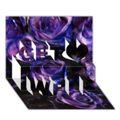 Purple Glitter Roses Valentine Love Get Well 3d Greeting Card (7x5)  by yoursparklingshop