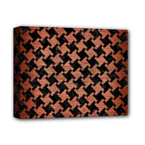 Houndstooth2 Black Marble & Copper Brushed Metal Deluxe Canvas 14  X 11  (stretched) by trendistuff