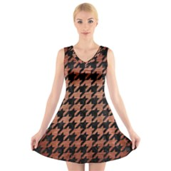 HTH1 BK MARBLE COPPER V-Neck Sleeveless Skater Dress