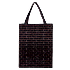 Brick1 Black Marble & Copper Brushed Metal Classic Tote Bag by trendistuff