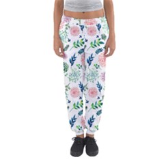 Hand Painted Spring Flourishes Flowers Pattern Women s Jogger Sweatpants by TastefulDesigns