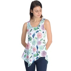 Hand Painted Spring Flourishes Flowers Pattern Sleeveless Tunic by TastefulDesigns