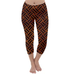 Woven2 Black Marble & Brown Burl Wood (r) Capri Winter Leggings  by trendistuff