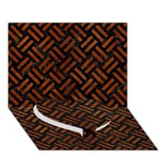 Woven2 Black Marble & Brown Burl Wood Heart Bottom 3d Greeting Card (7x5) by trendistuff