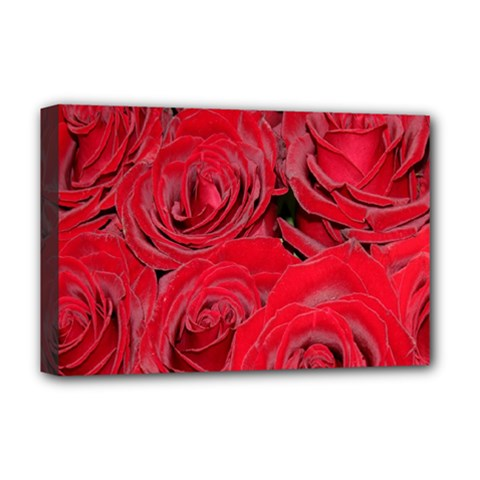 Red Roses Love Deluxe Canvas 18  X 12   by yoursparklingshop