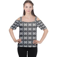 Black White Gray Crosses Women s Cutout Shoulder Tee by yoursparklingshop