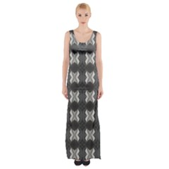 Black White Gray Crosses Maxi Thigh Split Dress by yoursparklingshop